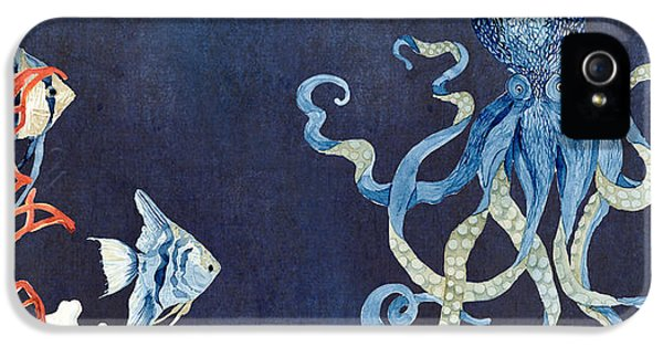 Blue Crab iPhone 5 Cases - Indigo Ocean - Floating Octopus iPhone 5 Case by Audrey Jeanne Roberts