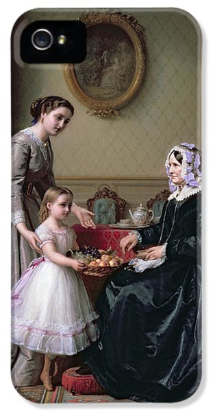 Curtain iPhone 5 Cases - Interior at The Chestnuts Wimbledon Grandmothers birthday iPhone 5 Case by J L Dyckmans