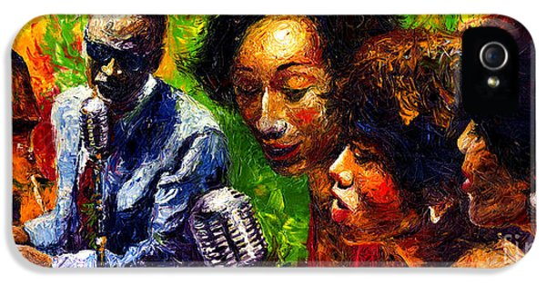 Trio iPhone 5 Cases - Jazz  Ray Song iPhone 5 Case by Yuriy  Shevchuk