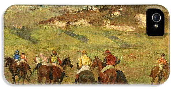 Riding iPhone 5 Cases - Jockeys on Horseback before Distant Hills iPhone 5 Case by Edgar Degas