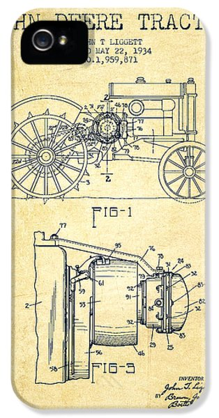 John Deere Tractor Patent Drawing From 1934 - Vintage IPhone 5 / 5s Case by Aged Pixel