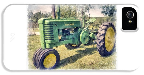 Tractor iPhone 5 Cases - John Deere Vintage Tractor Watercolor iPhone 5 Case by Edward Fielding