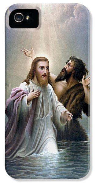 John The Baptist Baptizes Jesus Christ IPhone 5 / 5s Case by War Is Hell Store