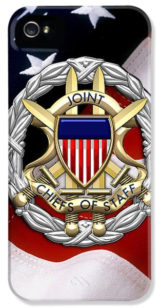 Joint Chiefs iPhone 5 Cases - Joint Chiefs of Staff - J C S Identification Badge over U. S. Flag iPhone 5 Case by Serge Averbukh