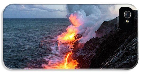 Outdoors iPhone 5 Cases - Kilauea Volcano Lava Flow Sea Entry 3- The Big Island Hawaii iPhone 5 Case by Brian Harig