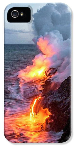 Smoke iPhone 5 Cases - Kilauea Volcano Lava Flow Sea Entry 3- The Big Island Hawaii iPhone 5 Case by Brian Harig