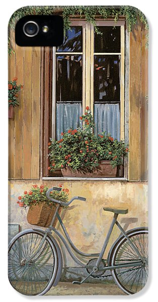 Street Scene iPhone 5 Cases - La Bici iPhone 5 Case by Guido Borelli