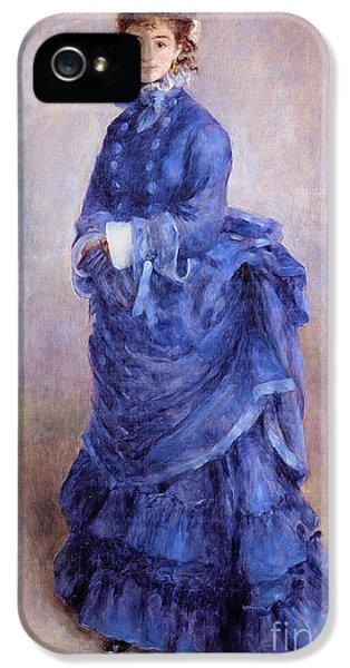 Blue iPhone 5 Cases - La Parisienne The Blue Lady  iPhone 5 Case by Pierre Auguste Renoir