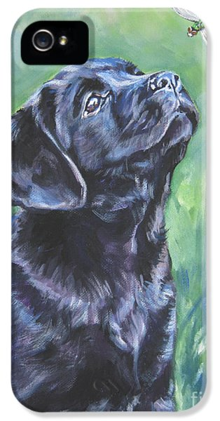 Realism iPhone 5 Cases - Labrador Retriever pup and dragonfly iPhone 5 Case by L A Shepard