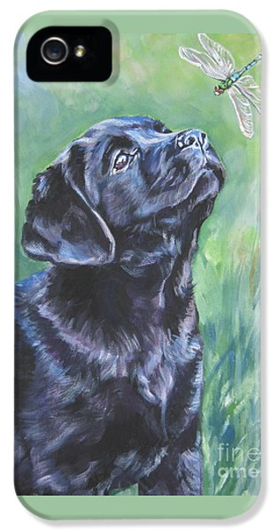 Labrador Retriever Pup And Dragonfly IPhone 5 / 5s Case by Lee Ann Shepard
