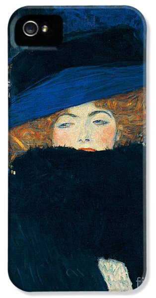 Lady With A Hat And A Feather Boa IPhone 5 / 5s Case by Gustav Klimt