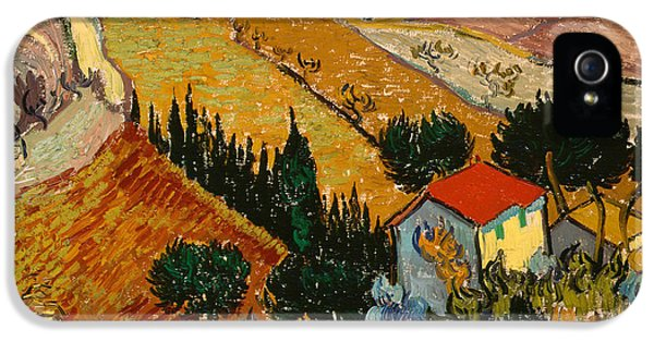 Oil House iPhone 5 Cases - Landscape with House and Ploughman iPhone 5 Case by Vincent Van Gogh