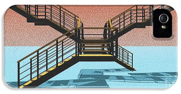Large Stair 38 On Cyan And Strange Red Background Abstract Arhitecture IPhone 5 / 5s Case by Pablo Franchi