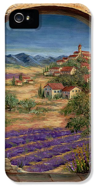 Rural iPhone 5 Cases - Lavender Fields and Village of Provence iPhone 5 Case by Marilyn Dunlap