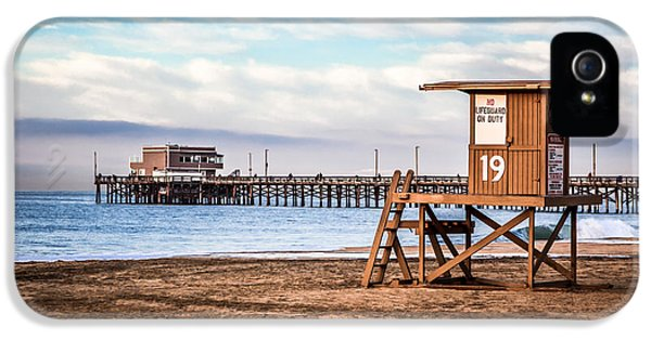 Balboa iPhone 5 Cases - Lifeguard Tower and Newport Pier Newport Beach California iPhone 5 Case by Paul Velgos