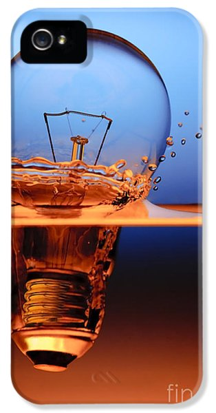 Water iPhone 5 Cases - Light Bulb And Splash Water iPhone 5 Case by Setsiri Silapasuwanchai