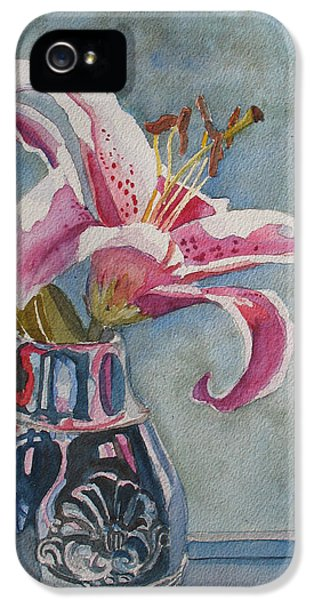 Carnations iPhone 5 Cases - Lily with Carnations iPhone 5 Case by Jenny Armitage