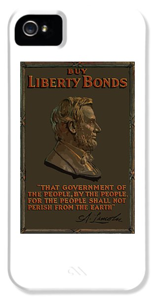 Abraham Lincoln iPhone 5 Cases - Lincoln Gettysburg Address Quote iPhone 5 Case by War Is Hell Store