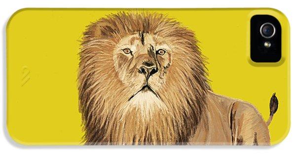 Mane iPhone 5 Cases - Lion painting iPhone 5 Case by Setsiri Silapasuwanchai