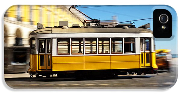 Old Tram iPhone 5 Cases - Lisbon Tram Panning iPhone 5 Case by Carlos Caetano