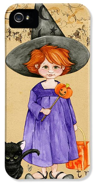 Halloween iPhone 5 Cases - Little Halloween Witch iPhone 5 Case by Cindy Garber Iverson