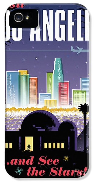 Los Angeles Retro Travel Poster IPhone 5 / 5s Case by Jim Zahniser