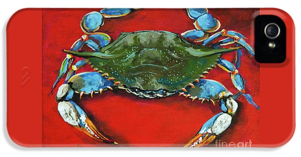 Blue Crab iPhone 5 Cases - Louisiana Blue on Red iPhone 5 Case by Dianne Parks