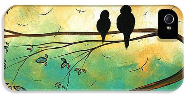 Turquoise iPhone 5 Cases - Love Birds by MADART iPhone 5 Case by Megan Duncanson