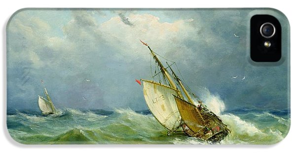 Lowestoft Trawler In Rough Weather IPhone 5 / 5s Case by John Moore