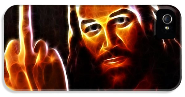 Happy Jesus iPhone 5 Cases - Lucifer This is For You iPhone 5 Case by Pamela Johnson