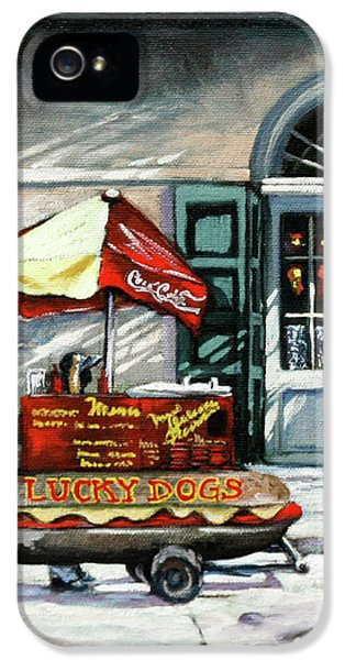 Hot Dog iPhone 5 Cases - Lucky Dogs iPhone 5 Case by Dianne Parks