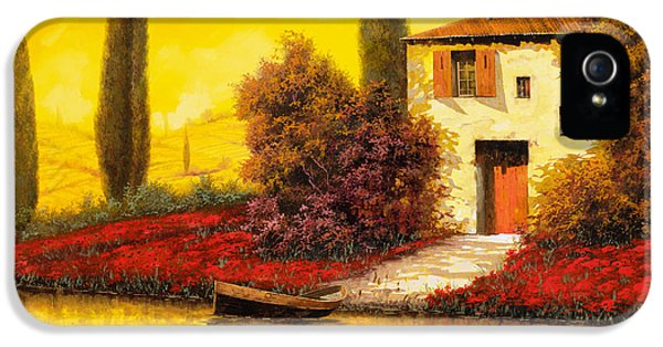 Fishing iPhone 5 Cases - Lungo Il Fiume Tra I Papaveri iPhone 5 Case by Guido Borelli