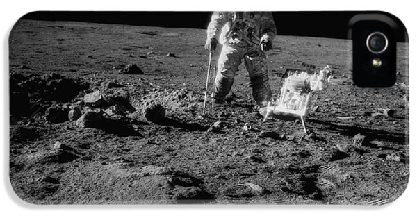 Moon Walk iPhone 5 Cases - Man on the Moon iPhone 5 Case by Jon Neidert
