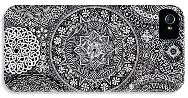 Black And White iPhone 5 Cases - Mandala Bouquet iPhone 5 Case by Matthew Ridgway