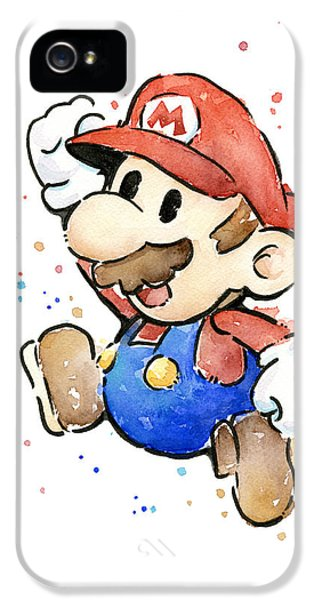 Video Game Art iPhone 5 Cases - Mario Watercolor Fan Art iPhone 5 Case by Olga Shvartsur