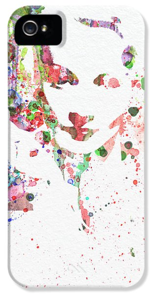 Film Watercolor iPhone 5 Cases - Marlene Dietrich 2 iPhone 5 Case by Naxart Studio