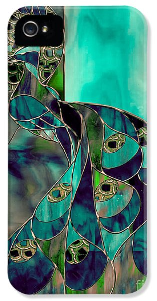 Stained iPhone 5 Cases - Mating Season Stained Glass Peacock iPhone 5 Case by Mindy Sommers