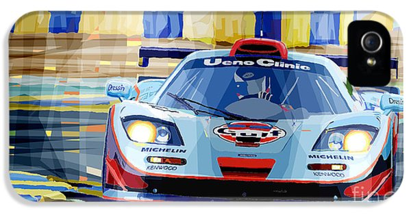Bmw iPhone 5 Cases - McLaren BMW F1 GTR Gulf Team Davidoff Le Mans 1997 iPhone 5 Case by Yuriy  Shevchuk
