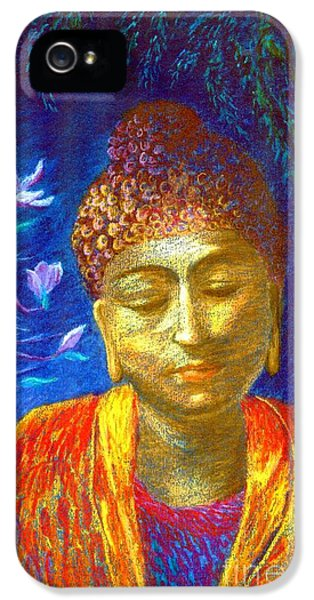 Orange iPhone 5 Cases - Meeting with Buddha iPhone 5 Case by Jane Small