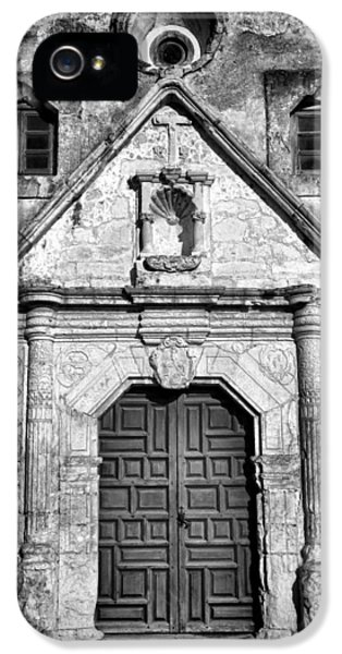 Textures iPhone 5 Cases - Mission Concepcion Entrance - BW iPhone 5 Case by Stephen Stookey