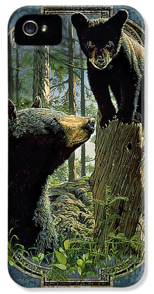 Cubs iPhone 5 Cases - Mom and Cub Bear iPhone 5 Case by JQ Licensing