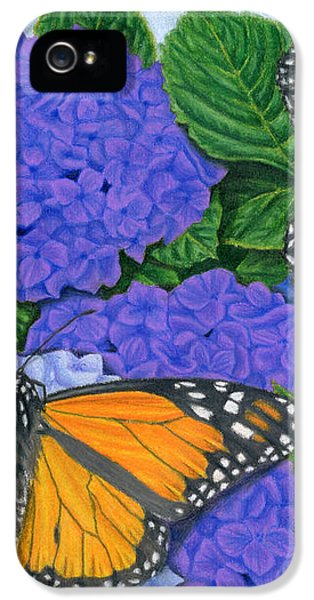 Monarch Butterflies And Hydrangeas IPhone 5 / 5s Case by Sarah Batalka