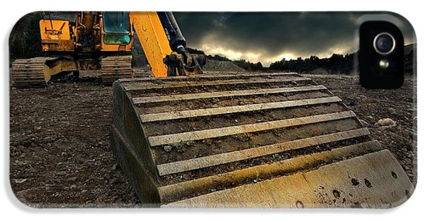 Equipment iPhone 5 Cases - Moody Excavator iPhone 5 Case by Meirion Matthias