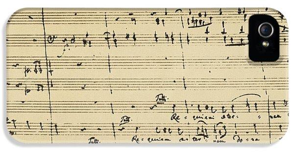 Composer iPhone 5 Cases - Mozart: Requiem Excerpt iPhone 5 Case by Granger
