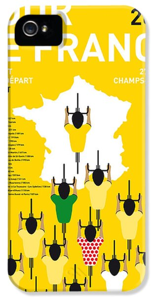 Spain iPhone 5 Cases - My Tour De France Minimal Poster Etapes 2015 iPhone 5 Case by Chungkong Art