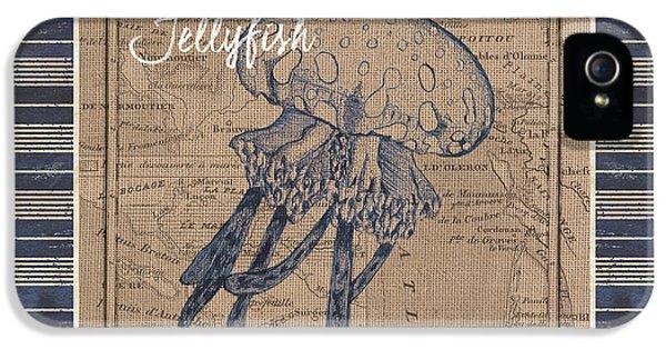 Nautical Stripes Jellyfish IPhone 5 / 5s Case by Debbie DeWitt