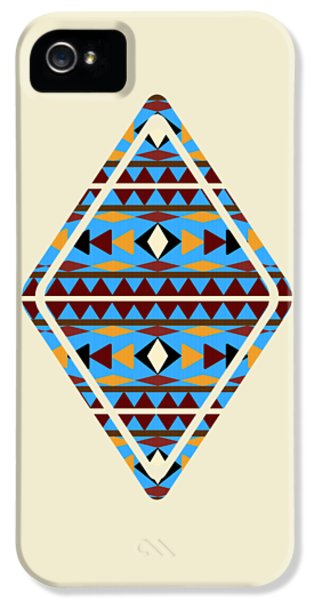 Native American Indian iPhone 5 Cases - Navajo Blue Pattern Aged iPhone 5 Case by Christina Rollo