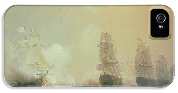 Guns iPhone 5 Cases - Naval Battle in Chesapeake Bay iPhone 5 Case by Jean Antoine Theodore Gudin