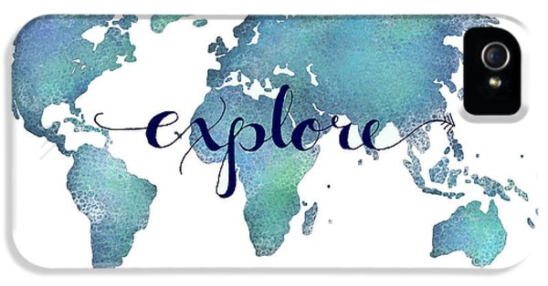 Navy And Teal Explore World Map IPhone 5 / 5s Case by Michelle Eshleman