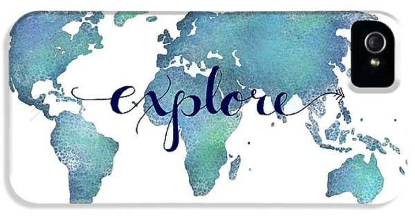 World Map iPhone 5 Cases - Navy and Teal Explore World Map iPhone 5 Case by Michelle Eshleman